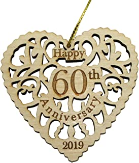 Twisted Anchor Trading Co 60th Anniversary Ornament 2019 - Heart Shaped Happy Anniversary Ornament - 60th Beautiful Laser Cut Wood Detail - Comes in a Pretty Organza Gift Bag so it's Ready to give
