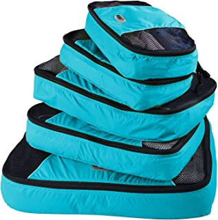 GOX Ultra Light 5 piece Packing Cubes Travel Luggage Organizers 1 Large 2 Medium 2 Small (Blue)