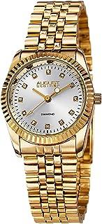 ساعة رسمية فاخرة بحواف محززة للنساء من اوغست شتاينر- قرص حاوي على علامات ساعات الماسية مع سوار ستانلس ستيل