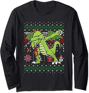 Funny Dragon Dabbing Ugly Sweater Christmas Gift Long Sleeve T-Shirt