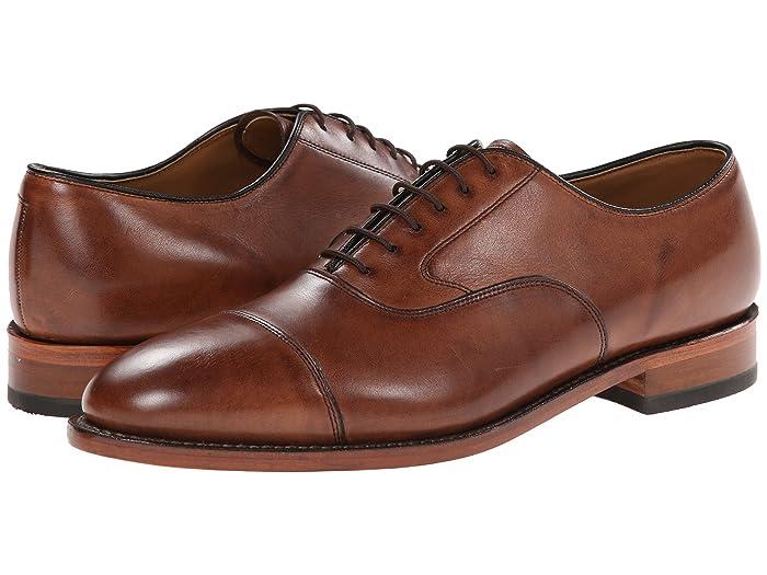 Johnston and Murphy  Melton Classic Dress Cap Toe Oxford (Tan Italian Calfskin) Mens Lace Up Cap Toe Shoes