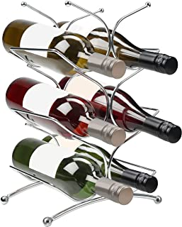 Belle Vous Roestvrij Staal Metalen Wijn Fles Werkblad Rek – Houdt tot op 6 Flessen – 3 Laags Vrij Staande Tafel Top Houder...