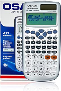 Osalo Scientific Calculator 417 Functions with Large Written 2 Line Display, Ultra-Light and Thin, Solar and Battery Power...