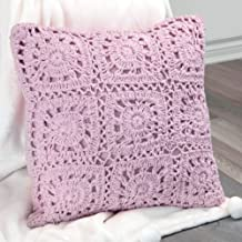 "Urban Loft by Westex Crochet Violet Polyester Filled Decorative Throw Pillow Cushion, 18"" x 18"""