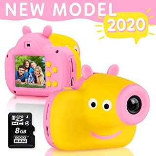 Cute Digital Camera for Kids - 8GB SD Card Included - Adorable Piggy Design - Durable Photography Toys Birthday Idea for Boys and Girls 3 4 5 6 7 8 Year Old