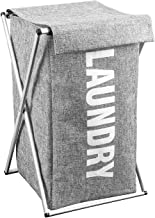 Foldable, Collapsible Linen Style Laundry Basket - Grey