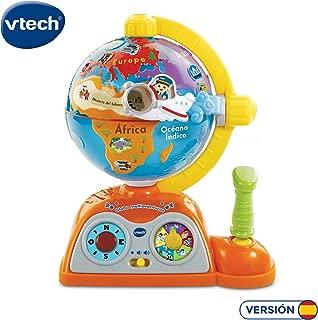 VTech - Globo multiaventuras, infantil interactivo que enseña geografía, continentes, océanos y monumentos, idiomas, animales y música (80-197822)