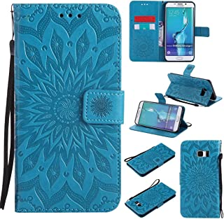 Galaxy S6 Edge Plus Case,Pu Magnetic Flip Folio Wallet Case [Durable] Lightweight Kickstand Folding Case with Card Holder Xmas Birthday Gift for Samsung Galaxy S6 Edge Plus -Sunflower Blue