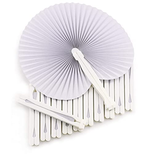 WeddingTree ® 60 x Pocket Fans - Folding White Paper - DIY and Decorative Fun for Young and Old - Gifts for Guests Wedding Party Flamenco Belly-Dance