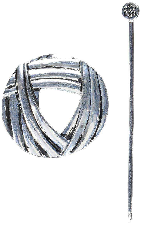 LoRan 40010 Shawl Pin with Yarn Design, Silver Finish