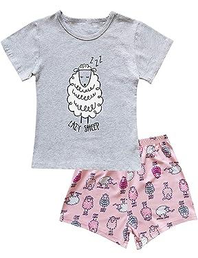 TUTU Pajamas Set for Girls Short Sleeve Sleepwears Kids Short Pjs Sets