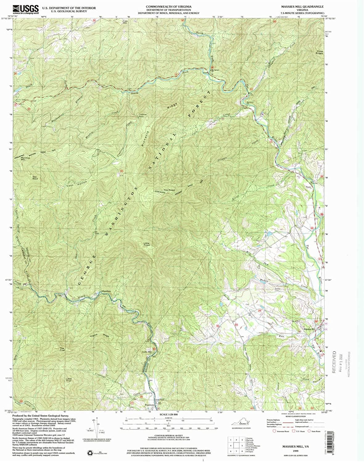 Massies Mill VA topo map, 1 24000 Scale, 7.5 X 7.5 Minute, Historical, 1999, Updated 2000, 26.8 x 21.9 in
