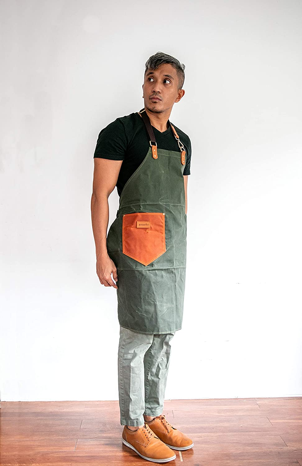 Buy Handmade Waxed Canvas Apron with Leather Straps   Water ...