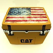Caterpillar Cat Cooler with American Flag Lid Graphic, Cat Yellow, 27 Quart