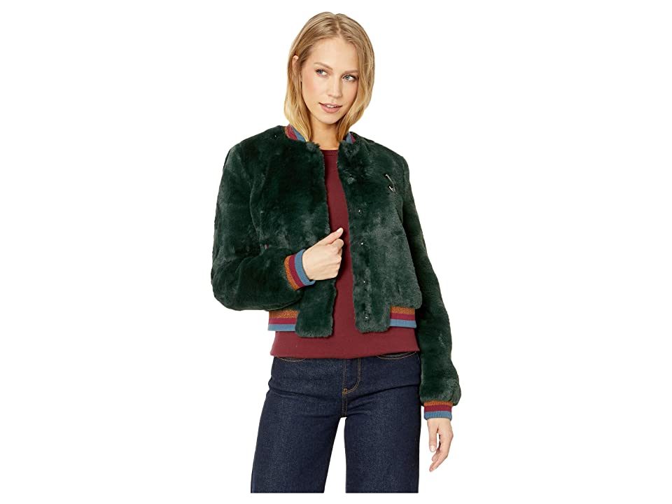 Ted Baker Colour By Numbers Aether Faux Fur Bomber Jacket (Dark Green) Women