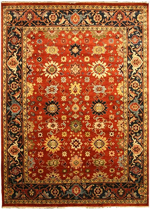 Amazon Com Eorc Sht19rt Hand Knotted Wool Super Mahal Rug 4 X 6 Rust Furniture Decor