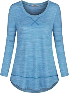 Cestyle Women's Long Sleeve Round Neck Yoga Tops Workout Shirts Activewear
