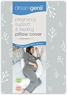 Dreamgenii Pregnancy Support and Feeding Pillow Cover Pillow Case Only (Grey/White)