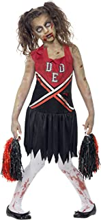 Smiffys Tween Zombie Cheerleader Costume, Blood Stained Dress & Pom Poms, Size: T, Colour: Red and Black, 43023