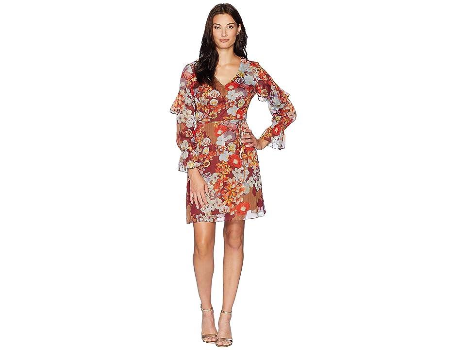Adrianna Papell Floral Print Metallic Stripe Chiffon Ruffle Sleeve Dress (Burgundy Multi) Women