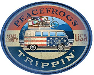 Enjoy It Peace Frogs Trippin' Peace Frogs Car Sticker, Outdoor Rated Vinyl Sticker Decal for Windows, Bumpers, Laptops or ...