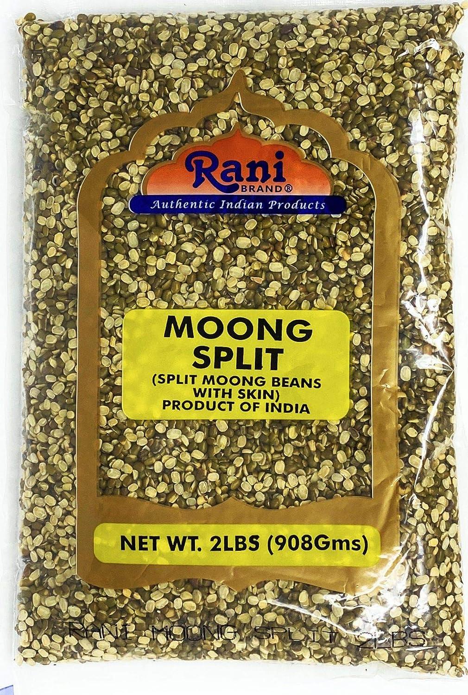 Rani Moong Split (Split Mung Beans WITH skin) Lentils Indian 2lbs (32oz) ~ All Natural   Gluten Friendly   NON-GMO   Vegan