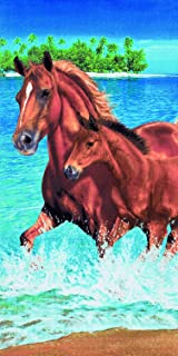 Horses in the water velour brazilian beach towel 30x60 inches