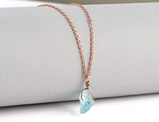 Raw Aquamarine Gemstone Natural Crystal Pendant Necklace Handmade Dainty Jewelry March Birthstone14K Rose Gold 925 Sterling Silver Chain
