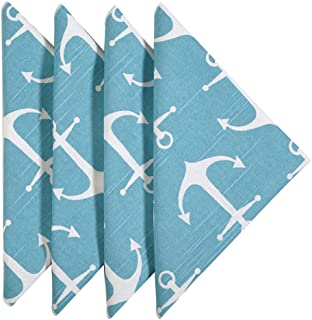 Decorative Things Cloth Napkins Linen Napkins Dinner Napkins Beach Party Nautical Anchor Turquoise Set of 4 18 Inches