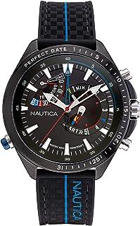 Nautica Men's Stainless Steel Quartz Fabric Strap, Black, 22 Casual Watch (Model: NAPSWS001)