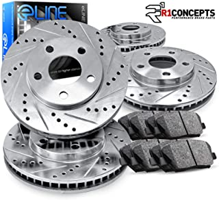 For 1994-1996 Nissan 240SX Front Rear Drill/Slot Brake Rotors+Ceramic Brake Pads