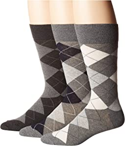 3-Pack Classic Argyle Cotton Blend with Polo Logo Knit In On Sole