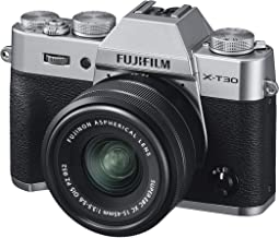 Fujifilm X-T30 Mirrorless Digital Camera, Silver with Fujinon XC15-45mm Optical Image Stabilisation Power Zoom Lens kit, B...