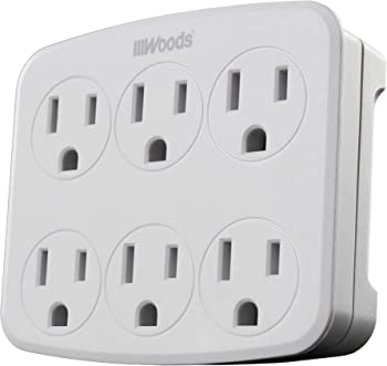 Woods 41196 Wall Adapter with 6 Grounded Outlets