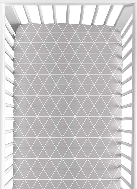 Sweet Jojo Designs Grey Triangle Baby Or Toddler Fitted Crib Sheet For Mountains Collection By