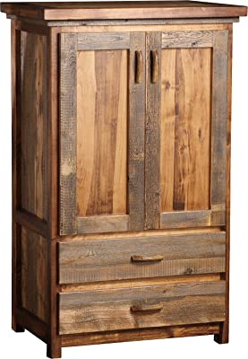 Mountain Woods Furniture The Wyoming Collection Two-Drawer Armoire with Wardrobe bar, Bronze Pull
