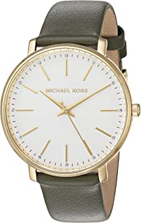 Michael Kors Women`s Stainless Steel Quartz Watch with Leather Calfskin Strap