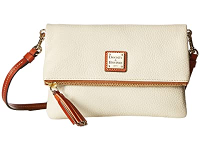 Dooney & Bourke Pebble Fold-Over Zip Crossbody (Bone w/ Tan Trim) Cross Body Handbags