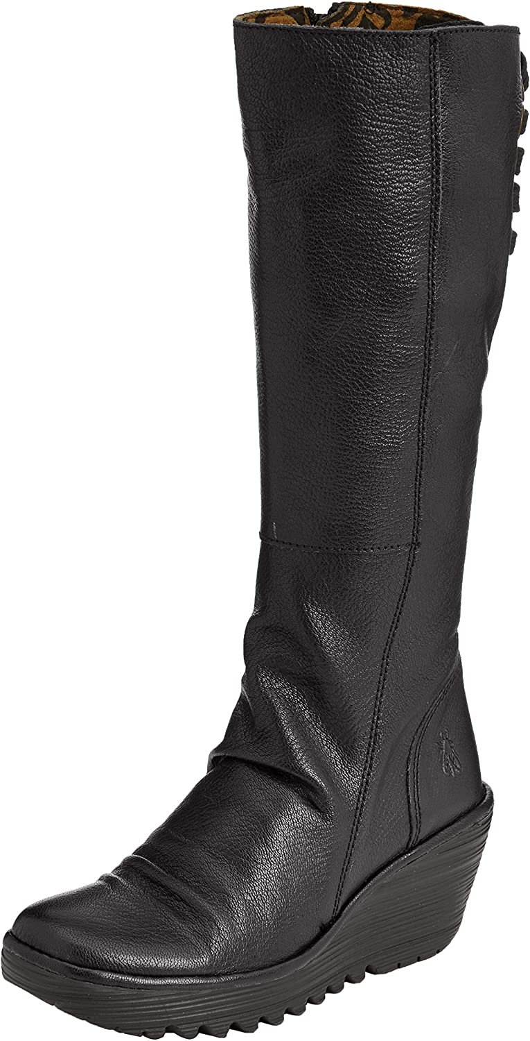 Fly London Womens Black Yust Mousse Leather Boots