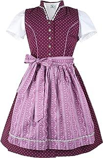 Isar-Trachten Kinderdirndl 43230 mit Bluse berre | Mädchen Dirndl mit Knöpfen | traditionell Streublümchen-Muster
