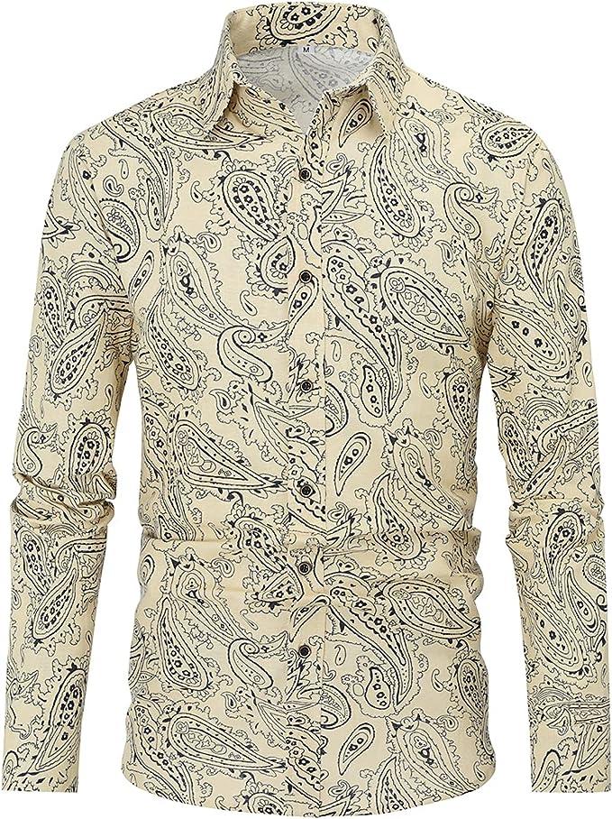 Camisa Impresa Casual para Hombre Camisas de Manga Larga de Paisley Funky con Estampado de Lino Camisa de Vestir con Botones Botones Patrón único