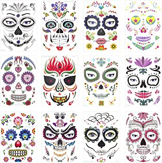 Mewtogo 12Pcs Halloween Sugar Skull Temporary Face Tattoo- Day of The Dead Sugar Skull Floral Black Web Red Roses Full Face Mask Tattoos for Kids Adult Halloween Masquerade Party Favors Supplies