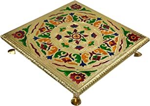 9.5x9.5inch Idols 10905 Purpledip Small Wooden Stand Stool Chowki with Exquisite Meenakari Painting for Placing Statues