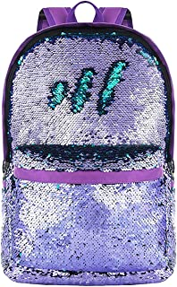Reversible Sequin Backpack Large Capacity Lightweight for School,Travelling Purple