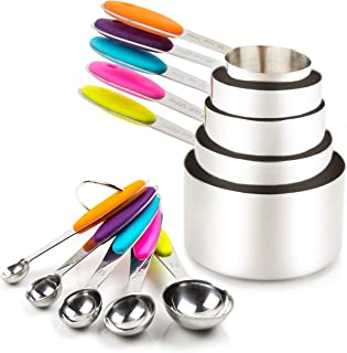 SKEIDO Measuring Cups and Spoons Set 10 Piece 304 Stainless Steel Measuring Cups and Spoons Set Including 5 Piece Measurin...