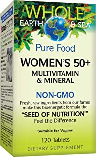Whole Earth & Sea from Natural Factors, Women's 50+ Multivitamin & Mineral, Whole Food Supplement, Vegan and Gluten Free, 120 Tablets (60 Servings)
