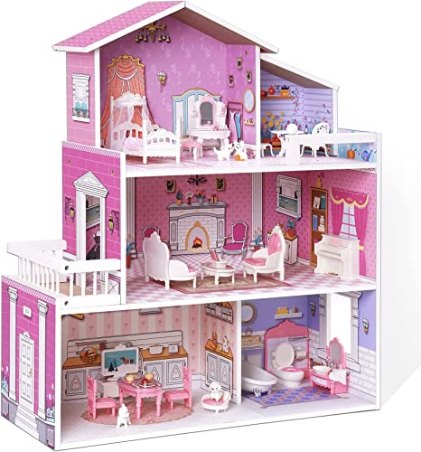 discount ROBUD online Wooden Dollhouse Kids with Furniture 3-Storey Preschool Dollhouse House Toy outlet sale Dollhouse for Toddlers Girls online sale