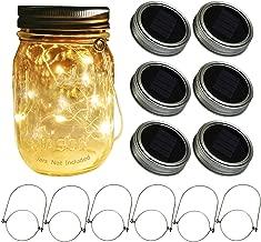 Mason Jar Solar Lids Lights,6-Pack 30 LEDs Fairy Fireflies String Lights Lids Insert(6 Hangers Included, Jars Not Included), Fits Regular Mouth Mason Jars,Patio Garden Decor Solar outdoor Laterns