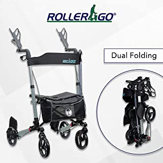 New Roller-GO Double Foldable Adult Mobility Rollator Walker with Forearm Support, Fits in A Bag