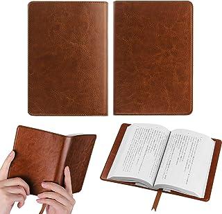 オリジナル高級PU ブックカバー 手帳型 軽量 耐久性 文庫判サイズ カードポケット付き、しおり付き、シンプルなデザイン (ダークブラウン)